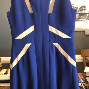 BCBGMAXAZRIA SOLIE TULLE INSERT  BLUE DRESS Sz8